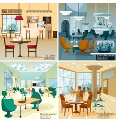 Restaurant Bar 4 Flat Icons Square vector