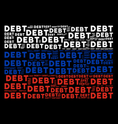 Russia flag collage of debt word items vector