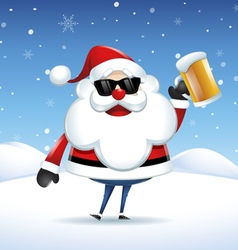 Santa Claus with a beer celebrating in Christmas vector image