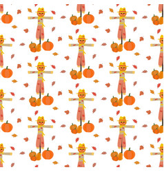 Scarecrow and pumpkin pattern vector