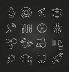 Science line icons set on chalkboard vector