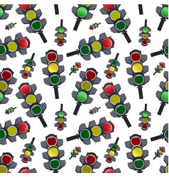 seamless abstract pattern traffic lights vector image