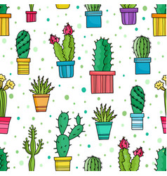 Seamless pattern of green cacti and plants vector