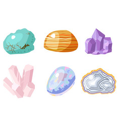 Semi precious gemstones stones and mineral stone vector