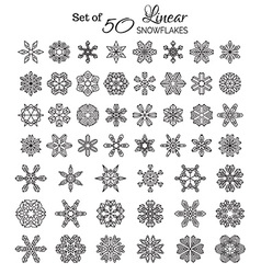 Set of 50 Outlined Snowflakes vector image