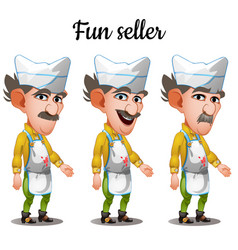 Set of emotions mustachioed meat seller vector