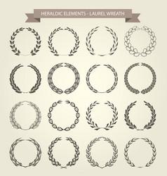 set of laurel wreaths in heraldic style vector image