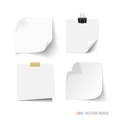 Set of post it paper sheets Realistic vector image