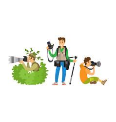 Set photo journalists making broadcast reportage vector