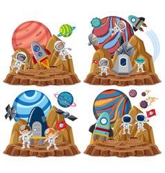 Set space themes with astronauts isolated on vector