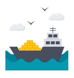 ship at sea vector image