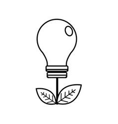 Silhouette energy bulb with leaves icon vector