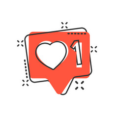 social media notification sign icon in comic vector image