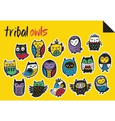 Sticker set with tribal owls vector image