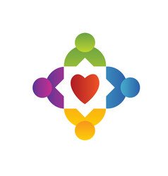 Teamwork people surrounding heart logo vector