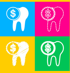 the cost of tooth treatment sign four styles of vector image