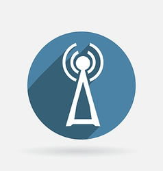 tower of the wi fi Circle blue icon with shadow vector image