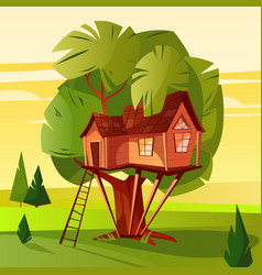 Tree house in forest vector