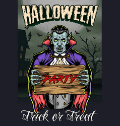 trick or treat vintage colorful poster vector image