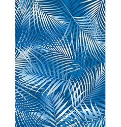 Tropical blue palm leaves in white and blue vector
