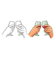 two hands holding and clinking a glass wine vector image