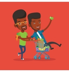 Two young friends riding by shopping trolley vector