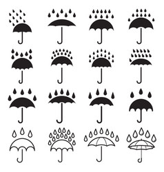 umbrella and rain drops icons vector image
