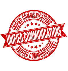 Unified communications round grunge ribbon stamp vector