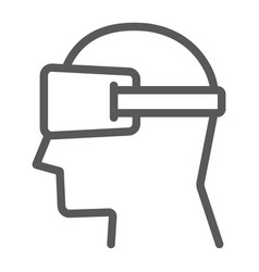 Virtual reality glasses line icon electronic vector