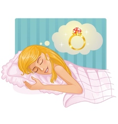 Young beautiful girl dreaming about a ring in the vector