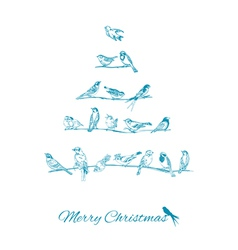 Christmas Card - Birds on Christmas Tree vector image vector image