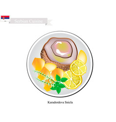 karadordeva snicla one of the most famous dish of vector image