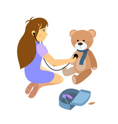 little girl playing a doctor with plush teddy bear vector image vector image