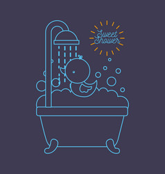 sweet shower bathtub and duck foam bubbles blue vector image