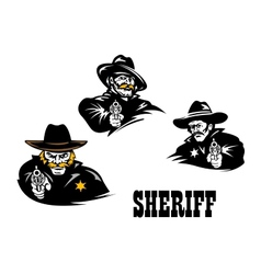 American western sheriff characters set vector image