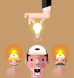 Brain idea light bulb vector image