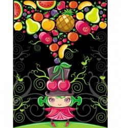 cherry girl fruity vector image vector image
