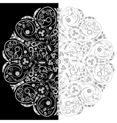 Ornamental floral round lace background vector image