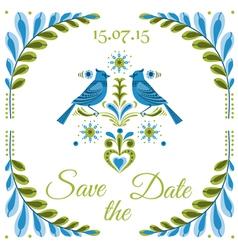 Vintage Invitation Bird Postcard vector image