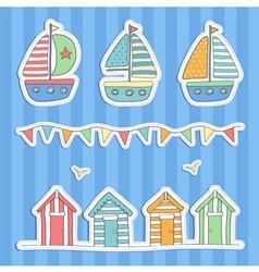 Beach huts bunting and sailing boats vector image