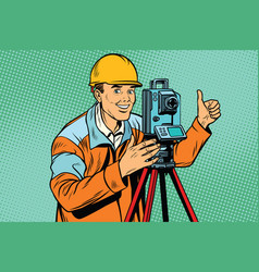 builder surveyor with a theodolite optical vector image