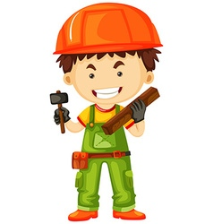 Carpenter holding hammer and wood vector image