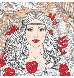 girl with red flowers vector image vector image