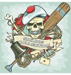 Sailor skull logo design - Sailing Collection vector image vector image