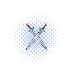 Swords crossed comics icon vector