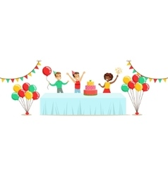Children With The Decorated Table Kids Birthday vector image vector image
