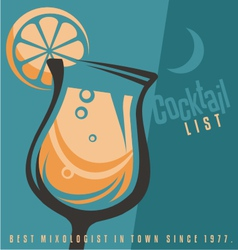Cocktail list cover document template vector image