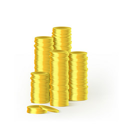 stacks of gold coins isolated on white background vector image vector image