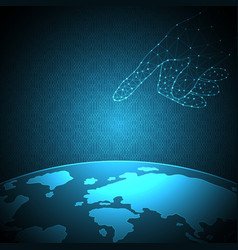 technology future hand touch world vector image vector image