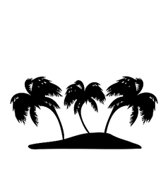 Tropical island with palm trees silhouette vector image vector image